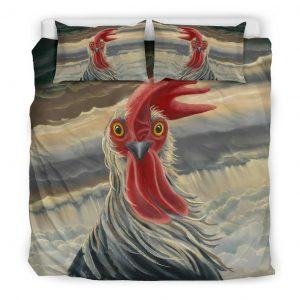 Drawing Rooster Face with Feather Bedding Set King