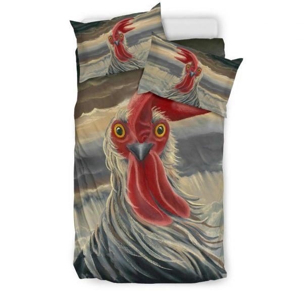 Drawing Rooster Face with Feather Bedding Set Twin
