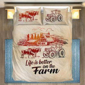 Life is better on farm with cows, tractor and barn bedding set