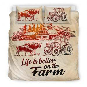 Life is better on farm with cows, tractor and barn bedding set king