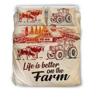 Life is better on farm with cows, tractor and barn bedding set queen