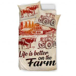 Life is better on farm with cows, tractor and barn bedding set twin