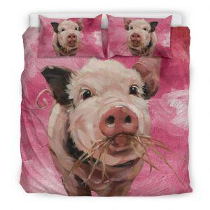 Painting Pig Eating Grass Bedding Set King