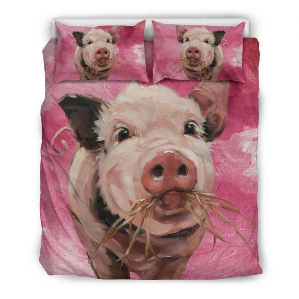 Painting Pig Eating Grass Bedding Set Queen