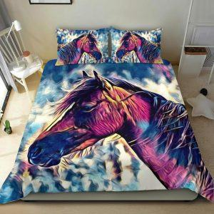Realistic Colorful Horse Head Bedding Set