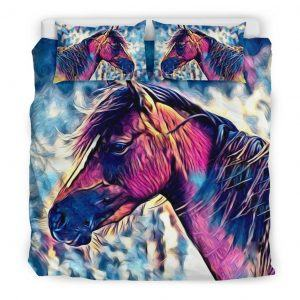 Realistic Colorful Horse Head Bedding Set King