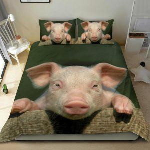 Realistic Pink Pig Face Bedding Set