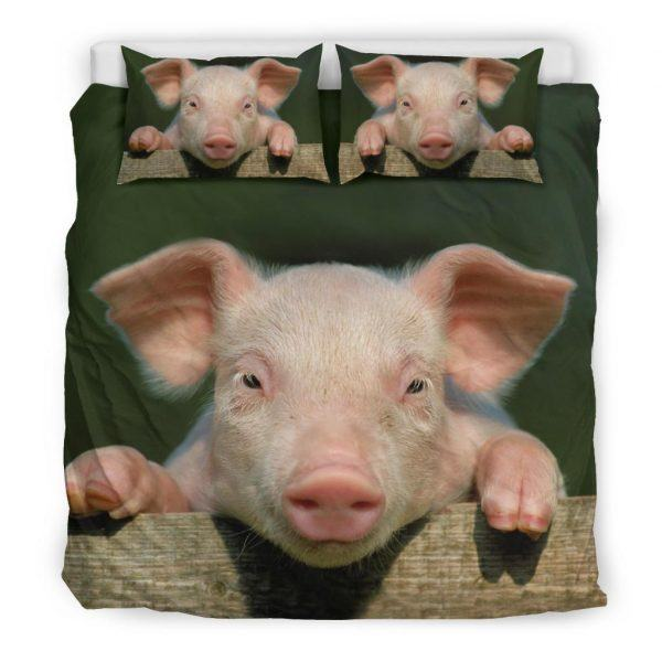Realistic Pink Pig Face Bedding Set King