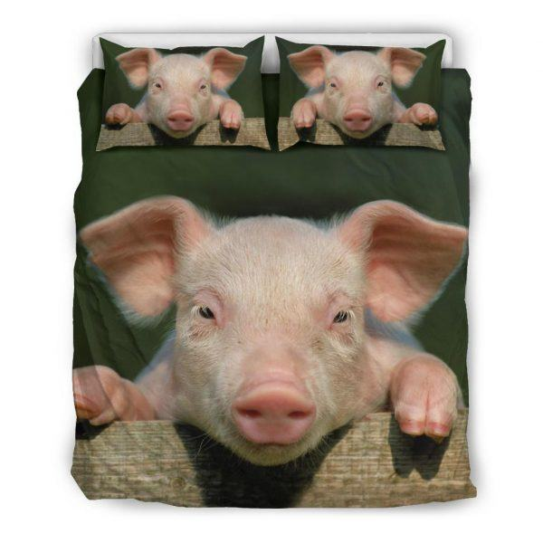 Realistic Pink Pig Face Bedding Set Queen