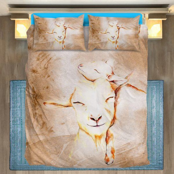Stylized Drawing Mother and Baby Goats Bedding Set