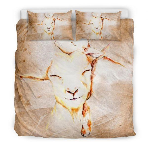 Stylized Drawing Mother and Baby Goats Bedding Set King