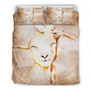 Stylized Drawing Mother and Baby Goats Bedding Set Queen