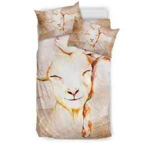 Stylized Drawing Mother and Baby Goats Bedding Set Twin