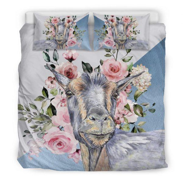 Super Cute Goat with Rose Bedding Set King