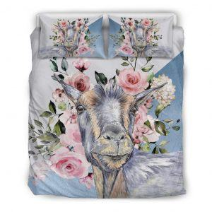 Super Cute Goat with Rose Bedding Set Queen