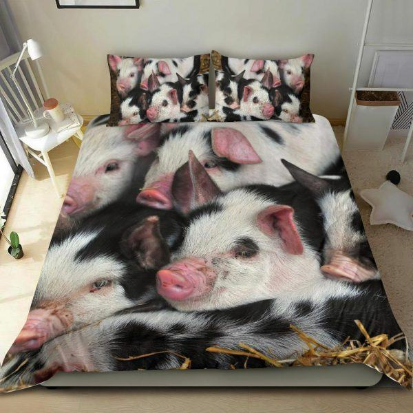 Swine of Black and White Pigs Bedding Set