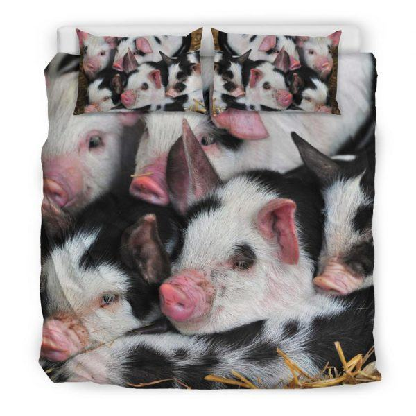 Swine of Black and White Pigs Bedding Set King
