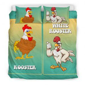 White and Brown Rooster Bedding Set King