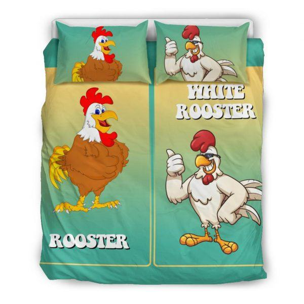 White and Brown Rooster Bedding Set Queen
