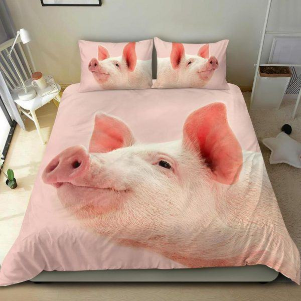 Zoom Pink Pig Face Look Up Bedding Set