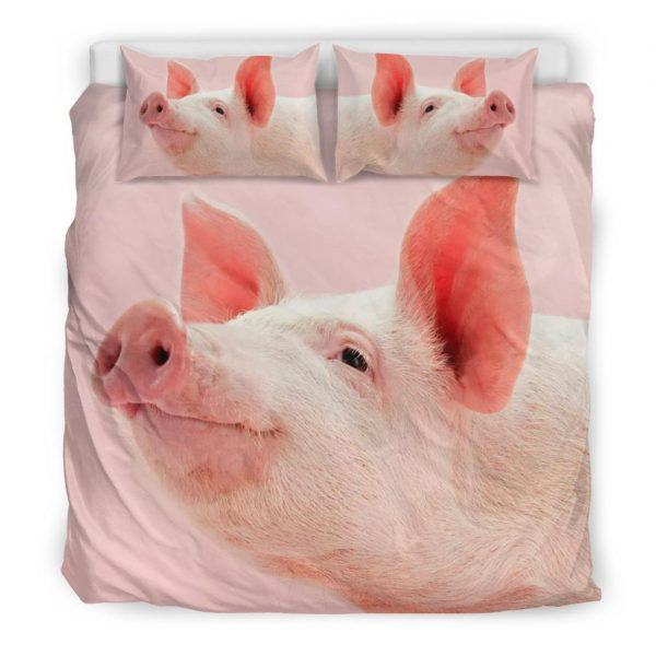 Zoom Pink Pig Face Look Up Bedding Set King