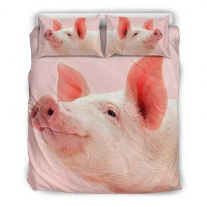 Zoom Pink Pig Face Look Up Bedding Set Queen