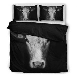 black and white cow head bedding set