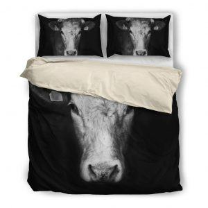 black and white cow head bedding set White