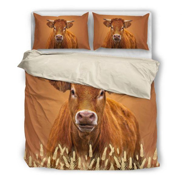 brown dairy cow bedding set