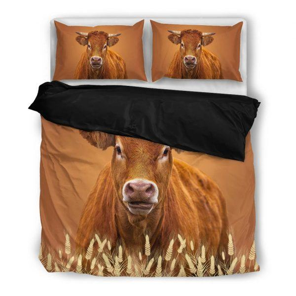 brown dairy cow bedding set black