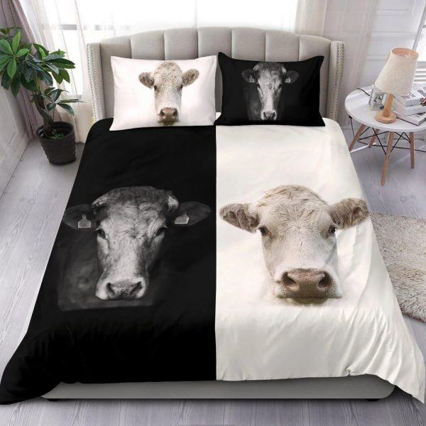 cow yin yang black and white bedding set