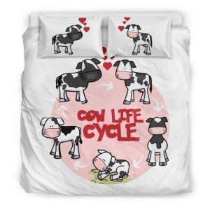 cute cow life cycle cartoon bedding set king