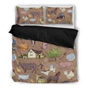 farm life with farm animal bedding set black