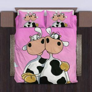 funny cute couple of cows bedding set