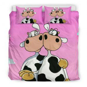 funny cute couple of cows bedding set king