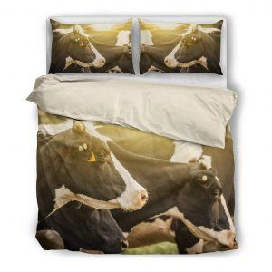 herd of cows in sunset bedding set white