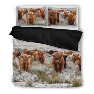 highland cattle squad bedding set black
