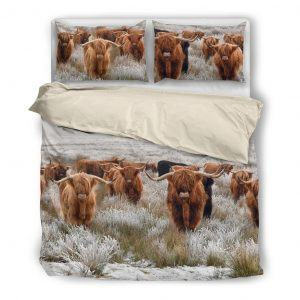 highland cattle squad bedding set white
