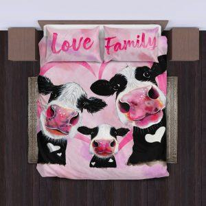 three pink cow love family with heart bedding set