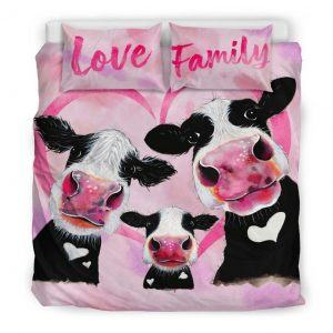 three pink cow love family with heart bedding set king