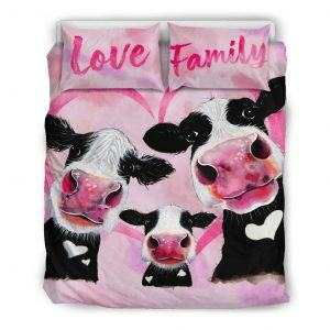 three pink cow love family with heart bedding set queen