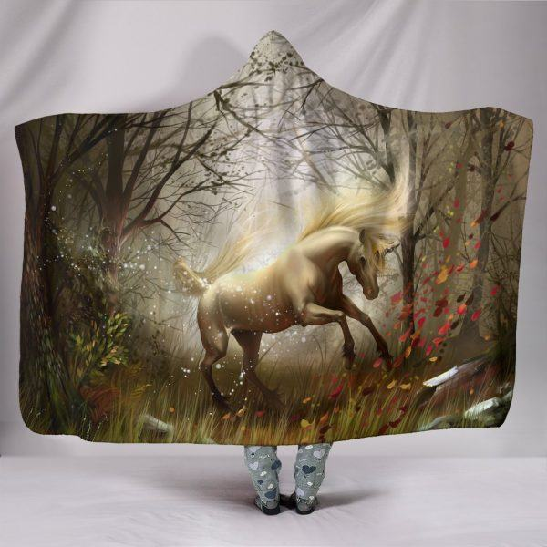 Beautiful White Horse on Forest Hooded Blanket