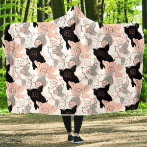 Black Pink Pig Hand Drawing Hooded Blanket