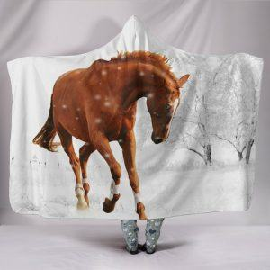 Brown Horse in Snow Forest Hooded Blanket