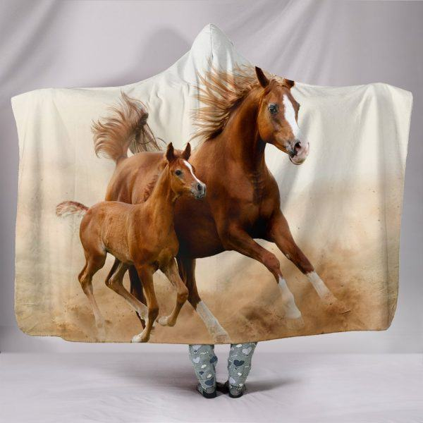 Brown Running Horse and Foal Hooded Blanket