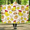 Cartoon Farm Chicken Hen Hooded Blanket