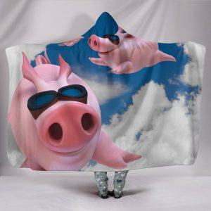 Cartoon Flying Pig with Cool Glass Hooded Blanket