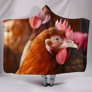 Chicken Rooster Head Printed Hooded Blanket