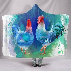 Colorful Hen and Rooster Chicken Hooded Blanket
