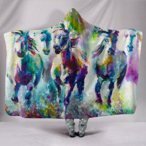 Colorful Painting Horses Hooded Blanket